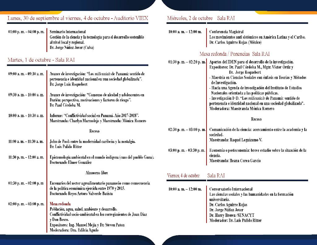 Programa del Iden para el 29° Congreso Cientifico Nacional